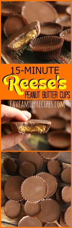 This homemade Reese's Peanut Butter Cups recipe will satisfy your peanut butter cup craving in only 15 minutes. They taste just like the real thing! #peanutbuttercup #copycatrecipe #peanutbutter #chocolate