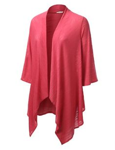 JTOMSON PLUS Womens Asymmetrical Open Cardigan Plus RED XLARGE ** Details can be found by clicking on the image.