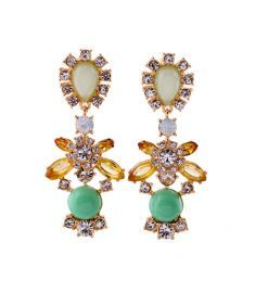 Europe and the United States flowers Diamond alloy  (green)  earring YTSJ0043