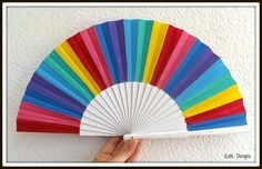 MTO Bright Rainbow Colors Wooden Folding Hand Fan by Dengra Designs (Hand fans by Kate Dengra)