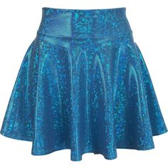 Turquoise Blue Shattered Glass Holographic High Waisted Skater Skirt... ($29) ❤ liked on Polyvore featuring skirts, mini skirts, stretch mini skirt, circle skirt, skater skirts, high-waisted skirt and flared mini skirt