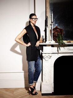 jenna lyons in sleveless blazer and denim...