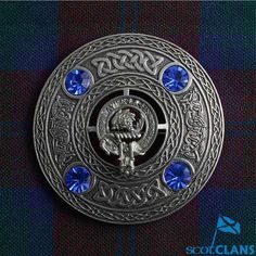 Clan Crest Plaid Brooch *New*With Saphire Coloured Stone Scottish Clans Tartans Kilts Crests and Gifts