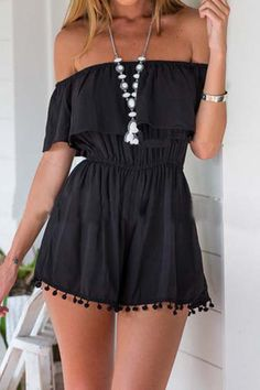Black Front Layered Off Shoulder Playsuit from mobile - US$13.95 -YOINS