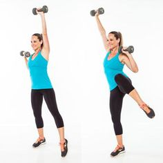 Stand on right leg with left toe pointed out to the side, lightly touching the floor. Bend right arm, bringing dumbbell to just outside of shoulder, and extend left arm up, palm facing forward.Press right arm overhead & bend left elbow as left knee lifts up toward chest. Return to start. Do 15 reps, and then repeat on opposite side.