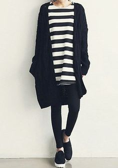 love this, striped tunic, leggings, long cardi, slip on sneaks, all in crisp black and white