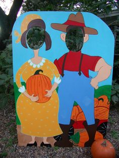 Harvest Party Themed Photo Prop  Farmer and Wife  by BlueGardenias