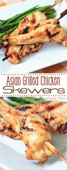 Asian Grilled Chicken Skewers - a simple marinade and chicken tenders, grilled to perfection! The perfect summer weeknight meal, a great freezer meal, too!
