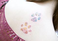 Floral paw print tattoos by Banul Trendy Tattoos, Popular Tattoos, Unique Tattoos, Small Tattoos, Tattoos For Women, Body Art Tattoos, New Tattoos, Cool Tattoos, Print Tattoos
