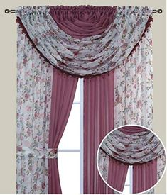 """Complete Window Sheer Voile Floral Curtain Panel Set w/4 Attached Panels (55x84"""" Each) and 2 attached Valances w/Beads and 2 Tiebacks - Easy Installation - Multicolor Burgundy Flower and Solid Pink"""