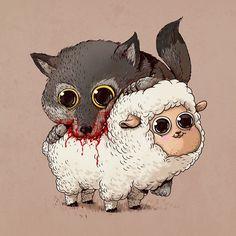 cute-gruesome-animal-drawings-predator-prey-alex-solis-alexmdc-13.jpg (640×640)