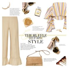 """""""All Ruffled Up (1)"""" by giogiota ❤ liked on Polyvore featuring Gucci, Caroline Constas, Barneys New York, Aperlaï, Kenneth Jay Lane, Chanel, ruffles and contestentry"""