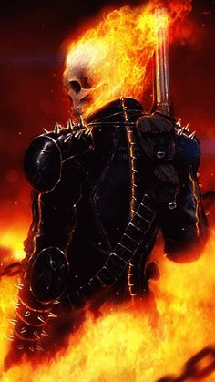 This week features some fantastic art on Ghost rider. Ghost Rider is the name of several fictional supernatural anti-heroes appearing in comic books published by Marvel Comics. Marvel had previousl… Ghost Rider 2, Ghost Rider Johnny Blaze, Ghost Rider Marvel, Comic Book Characters, Marvel Characters, Comic Character, Comic Books Art, Comic Art, Ms Marvel