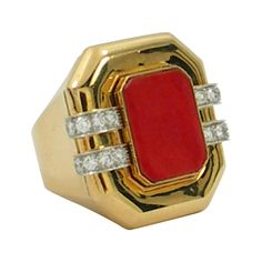 Large David Webb Ring with Coral and Diamonds | From a unique collection of vintage fashion rings at http://www.1stdibs.com/jewelry/rings/fashion-rings/
