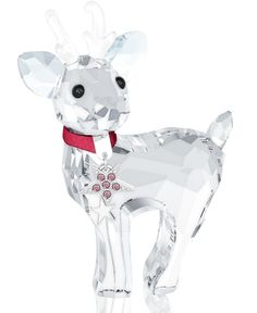 Swarovski Baby Reindeer Figurine - The Baby Reindeer creates a beautiful winter atmosphere. It wears a red necklace with metal stars enhanced with Light Rose crystal chatons and white epoxy. Glass Figurines, Collectible Figurines, Swarovski Crystal Figurines, Swarovski Crystals, Christmas Figurines, Reindeer Christmas, Christmas Ornament, Reindeer Figurines, White Reindeer