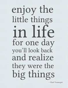 ...enjoy the little things in life for one day you'll look back and realize they were the big things...Kurt Vonnegut
