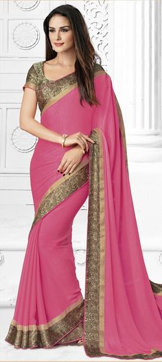 194052 Pink and Majenta  color family Party Wear Sarees in Crepe, Faux Chiffon fabric with Border, Zari work   with matching unstitched blouse.