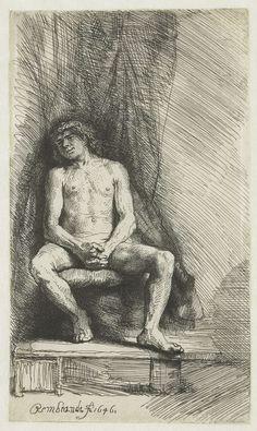 Naakte jonge man, gezeten voor een gordijn, Rembrandt Harmensz. van Rijn, 1646