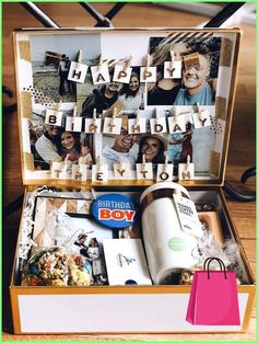 Birthday Gifts For Boyfriend Diy, Creative Gifts For Boyfriend, Cute Boyfriend Gifts, Cute Birthday Gift, Presents For Boyfriend, Birthday Box, Unique Birthday Gifts, Boyfriend Anniversary Gifts, Ideas For Birthday Gifts