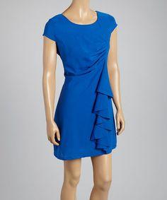 Another great find on #zulily! Blue Ruffle Cap-Sleeve Dress by Runway Paris #zulilyfinds