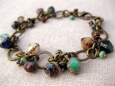 gypsy bracelet, czech glass and brass chain, multicolor for her under 50. $48.00, via Etsy.