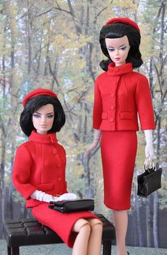 104-2.  Jackie Kennedy red suit she wore in Canada for Silkstone and FR dolls by Natalia Sheppard, via Flickr