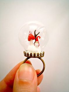 SALE Miniature glass dome ring tiny by MijbilCreatures on Etsy