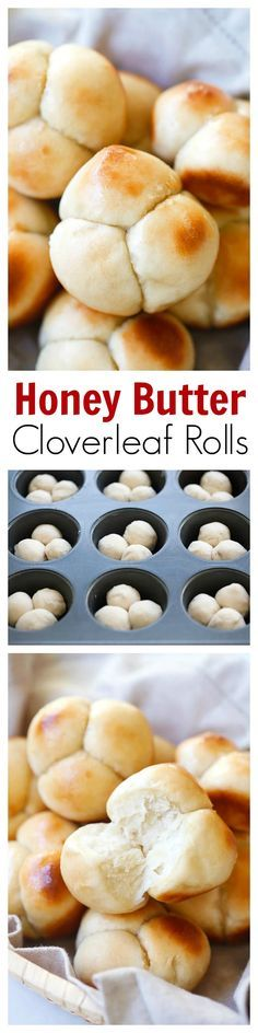 Honey Butter Cloverleaf Rolls – soft, buttery, and sweet pull-apart cloverleaf rolls. Amazing homemade rolls that is perfect for family dinners, recip. Pain Pizza, Pan Relleno, Homemade Rolls, Homemade Biscuits, Snacks, Dinner Rolls, Pull Apart, Sweet Bread, I Love Food