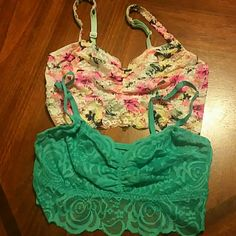 Pink by Victoria Secret Lace Bundle of  Bras Pink by Victoria Secret Lace Bundle  Bras   Both Size Small  Turquoise & Multi Color Bras   New without tags PINK Victoria's Secret Swim Bikinis