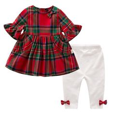 Newest Baby Girl Clothes Set Plaid Dresses Legging Pants Cotton Newborn Infant Clothing Kids Toddler Baby Outfit - Baby Girl Romper - Ideas of Baby Girl Romper Baby Girl Pants, Baby Girl Romper, Little Girl Dresses, Baby Dress, Baby Girl Leggings, Legging Outfits, Baby Boy Outfits, Kids Outfits, Baby Girl Christmas Dresses