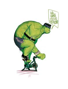 The Incredible Hulk spin class instructor by Mike Del Mundo. Never ever thought I'd see this but I'm glad it exists.