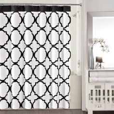 Studio 3B™ Jay Fret 72-Inch x 72-Inch Shower Curtain in Black/White - BedBathandBeyond.com (DIFFERENT COLOR)