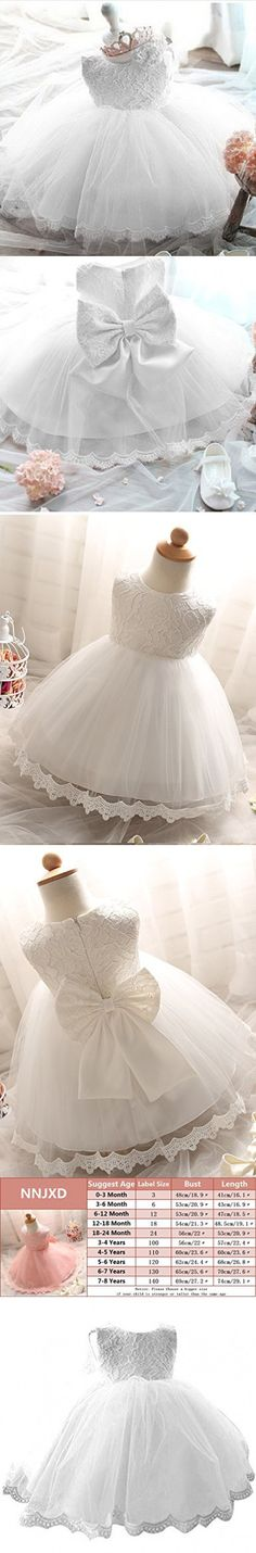 NNJXD Girls' Tulle Flower Princess Wedding Dress For Toddler and Baby Girl White 6-12 Months