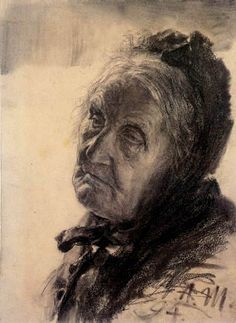 Adolph von (Adolf) Menzel - Portrait of an old woman, 1894