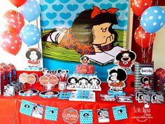 Mafalda Birthday Party Ideas | Photo 1 of 19 | Catch My Party Birthday Party Decorations, Birthday Parties, Ale, Diy And Crafts, Minnie Mouse, Birthdays, Snoopy, Disney Characters, Party Ideas