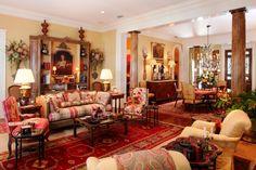 Vibrant reds, wonderful furnishings (Anita Rankin Interior Design - Point Clear, AL)