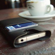 Leather iPhone 4 Case & Wallet: Ultrathin - Obsidian. $50.00