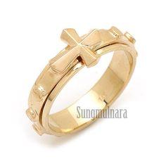 14K Gold Rosary Ring(spinning-band 5.6gram)