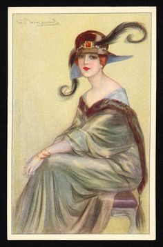 Woman with feather hat and green dress sitting on purple stool Physical Description: 1 postcard : col. ill. ; 14 x 9 cm.  1919
