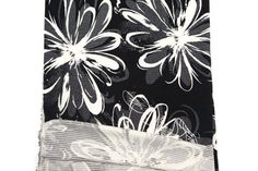 Black and Off White Graphic Floral Rib Polyester by felinusfabrics