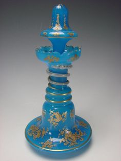 Antique French Blue Opaline Glass Perfume Bottle w/ Snake Gilt and Enameled, Shop Rubylane.com
