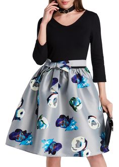 Flower Print Bowknot Design A Line Dress on sale only US$28.74 now, buy cheap Flower Print Bowknot Design A Line Dress at lulugal.com