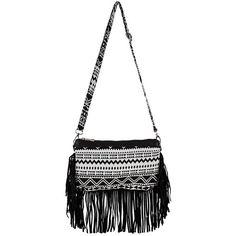 Black Aztec Print Fringe Shoulder Bag ($20) ❤ liked on Polyvore