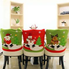 52384b108e3a6 Christmas Santa Claus Snowman Deer Hat Xmas Chair Covers Cover Gift S Christmas  Party Decorations