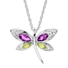 d9ba0a7b3 1 ct Natural Amethyst & Peridot Dragonfly Pendant with Diamonds in Silver