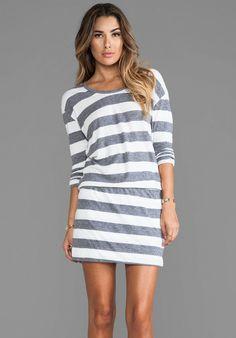 C&C California Long Sleeve Striped Blouson Dress on shopstyle.com