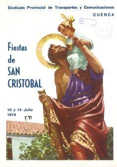 San Cristóbal 1974 El Patrón de los conductores se celebra el 13 y 14 de Julio con un Concurso de Vehículos Engalanados que parten de Cuenca al Pinar de Jábaga