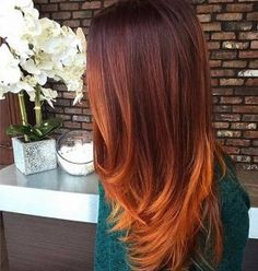 Rustic Copper Balayage Highlights for Fall(Pastel Hair Ends)