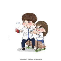 Love Cartoon Couple, Cute Couple Art, Cute Love Cartoons, Cartoon Pics, Cartoon Art, Kdrama, Kim Bok Joo, Chibi, Jung Hyun