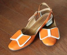 Vintage 60s Mod Burnt Orange Heels I actually had some like that! Wore them with a brown and white dress that had an orange belt. All bought with my mom at the Lima (Ohio) Mall. Dad used to say we kept them in business :-)